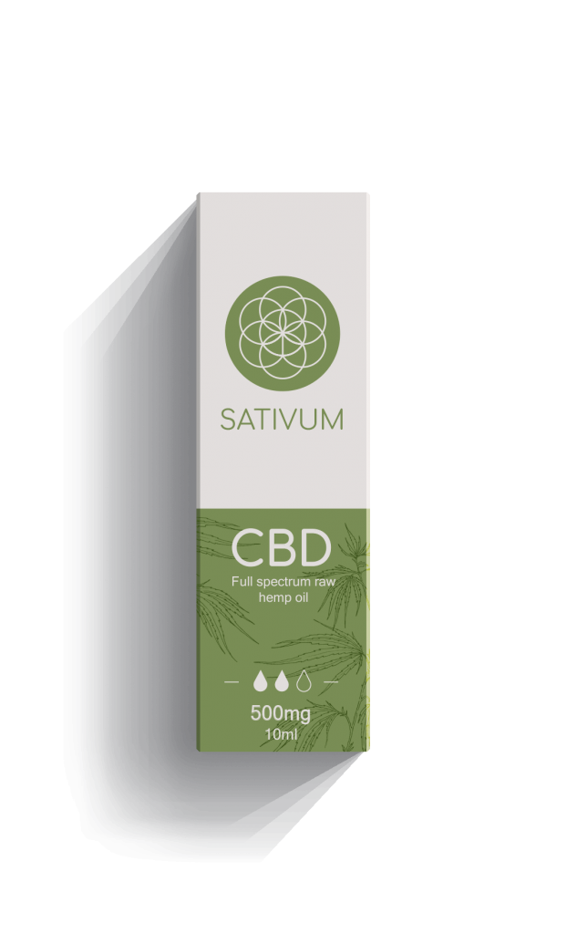 Sativum full spectrum raw CBD hemp oil extract 500mg with recycled packaging